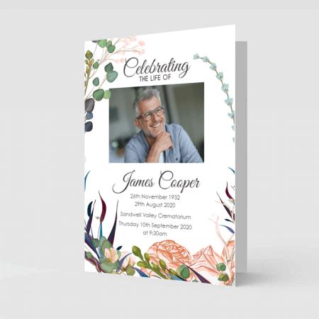 Light Floral Funeral Order Of Service Booklet