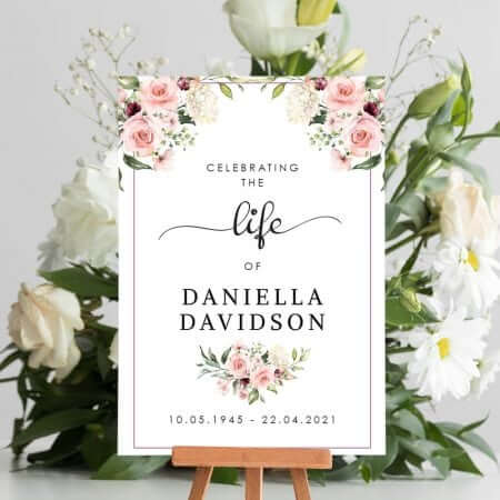 Floral Funeral Welcome Board