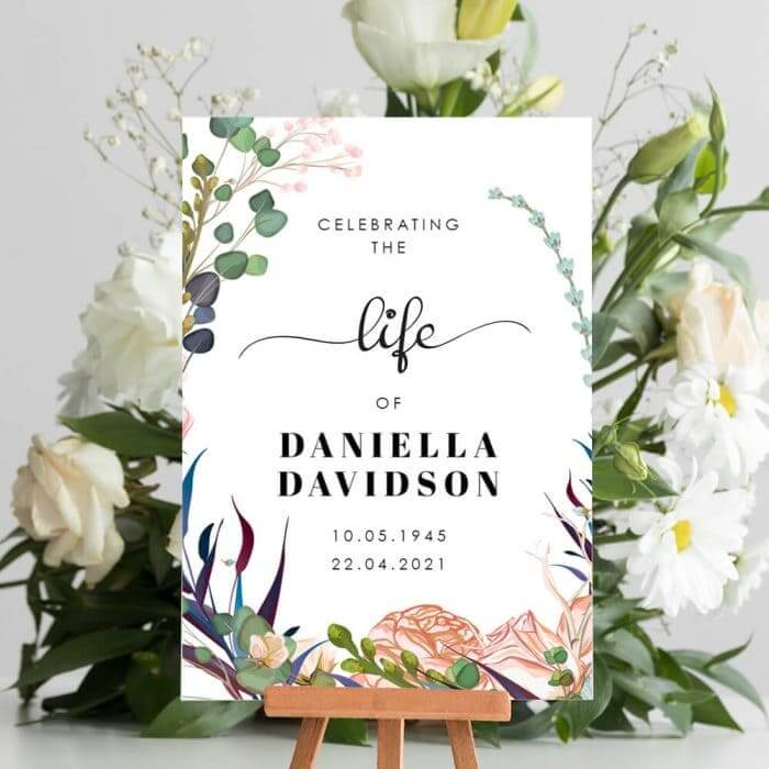 Light Floral Funeral Welcome Board