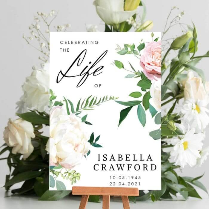Single Floral Funeral Welcome Board