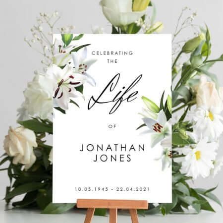 White Lilly Funeral Welcome Board