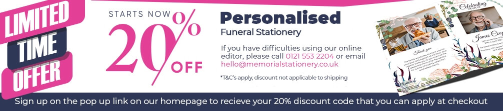 Personalised funeral order of service 20% off