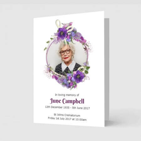 Purple Floral Order of Service