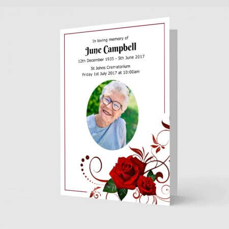 Red rose customised order of service template